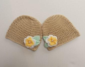 Spring Twin girls hat- Crochet hats for Twin girls-Twins Matching Hats-Crochet Baby Hats-Twin girls Hats-Crochet photo props-Baby hat-RTS