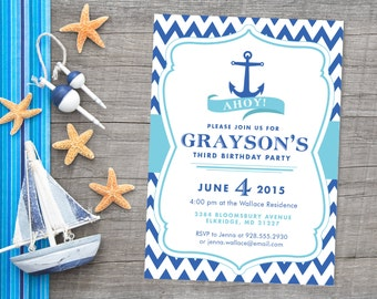 Ahoy! Chevron Nautical Anchor Birthday Party or Baby Shower Invitation, Custom Personalized Ocean Sea Printable Card for Boy or Girl