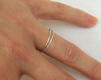 Set of 2 Simple Thin Sterling Silver Rings - Stackable