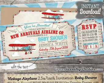 Vintage Airplane BABY SHOWER Invitation - INSTANT Download -  Editable & Printable Boys Aeroplane, Biplane, Airline Ticket Invite