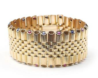 French Ruby Sapphire Gold Bracelet