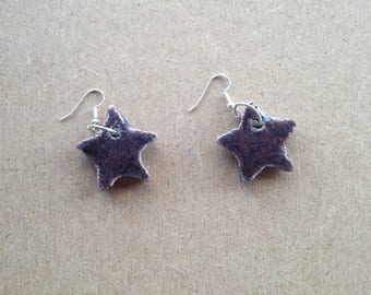 Purple Star earrings pair raku pottery