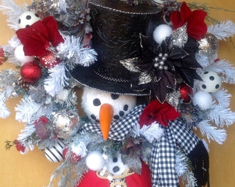 Mr. Frosty, Snowman, Winter, Christmas Wreath
