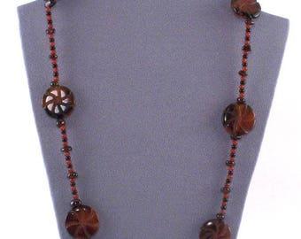 Carved Agate // Garnet // Carnelian // Semi Precious Stones // Long Necklace & Earrings Set // Rich Looking // Classy //