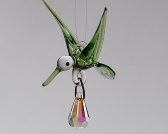 Small Blown Glass Hummingbird Ornament with Crystal Prism