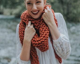 Women's Triangle Scarf, Oversized Scarf, Knitted Shawl, Knit Blanket Scarf, Handknit Shawl Bandana Triangle Scarf / / THE HIAWATHA - Spice