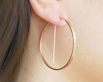 Rose Gold Hoop Earrings, Geometric Earrings, Round Hoops, Edgy Earrings, Textured Earrings, Statement Earrings, Gold Jewelry, Modern Earring