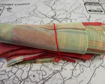 Scrap / Destash Fabric, Red Green and Pale Yellow Taffeta