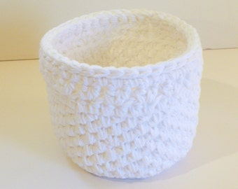 Large Bathroom Storage Basket, White Cotton Bath Storage Bin, Crochet Baskets, Yarn Bowl, Accessory Storage, Toiletry Storage Bin