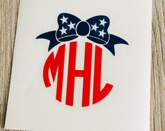 Red, White, and Blue Patriotic Monogram Decals!  6 Styles to choose from!