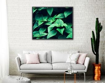 Nature Photography, Deep Green Botanical Print, Leaves, Natural Art, Garden Decor, Green Wall Art, Bright Green, Foliage, Botanical Photo