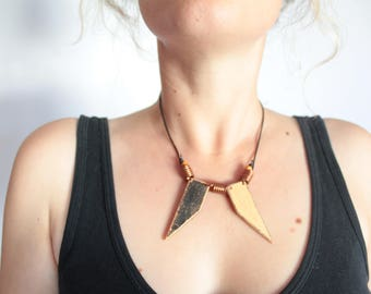 Handmade Black and Gold Statement Necklace Up-cycled Wood, Copper, Leather, Painted Wood, Boho, Hippie, Festival Wear, Tribal, Geometric