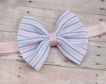 Newborn hospital headband, pink baby headband, infant headband, pink hair bow, fabric headband, fabric hair bow, messy bow