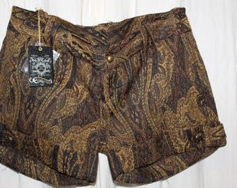 Shorts run Guess T 36 printed pashmina cashmere batik Vintage Haute Couture Brown dark golden brown new style