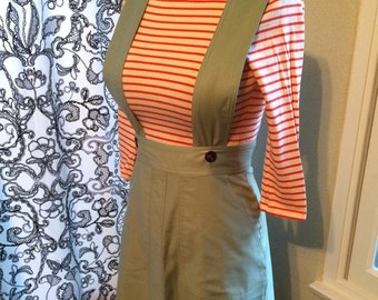 Sample 1940s skirt size Medium A line pinafore straps vintage workwear style cotton Ready to ship