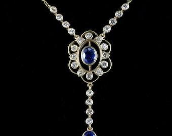Sapphire Diamond Pendant Lavaliere Necklace 18ct