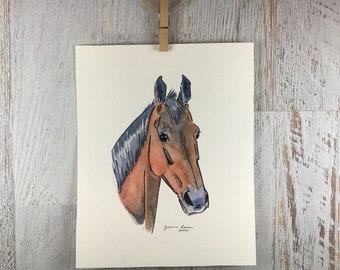 Horse art original watercolor & ink painting - Sweet Faced Bay Horse