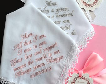 Wedding Handkerchief, Mother son gift for parent, Mother of the Bride gift from daughter, Mother of the Groom gift from son, inspirational