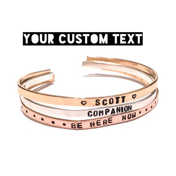 Custom Skinny Cuff | Your Own Text | Custom Bracelet | Customized Cuff | Personalized Bracelet for Women | Coordinate Bracelet | Thin Bangle