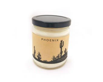 Phoenix Scented Soy Candle - 9oz - All Natural Vegan Candles - Herbal Candles - Sandalwood Grapefruit