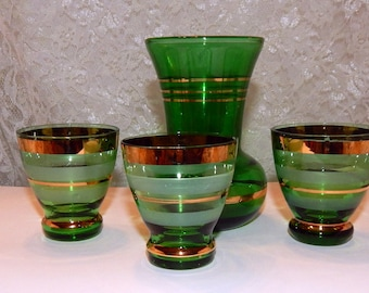 Emerald Green with 24k gold Stripes Glass Vase and 3 Blown Glass Shot Cordials 1950s
