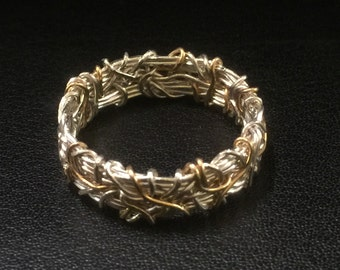 Crown of Thorns 14K Wedding Band, Coiled Wedding Band, Gold and Silver Wedding Band, Oxidized Silver Wedding Band, 6mm Wedding Band