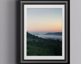 Sunrise over the Mountains, Morning Scene, Peaceful, Serene, Nature Photography, Fog over the Lake, 4x6, 8x12, 11x17, 12x18, 16x24, 20x30