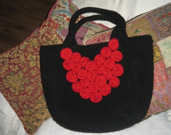 Roses are Red Felted Tote PDF Knitting Pattern