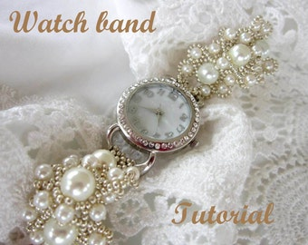 PDF tutorial lace beaded watch band _ russian frosts_ seed bead_ pattern_watch