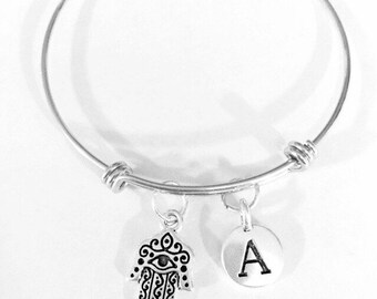 Gift For Her, Hamsa Hand Bangle Bracelet, Initial Bangle Bracelet, Mother's Day Mom Wife Daughter Religious Jewish Fatima Bangle Bracelet