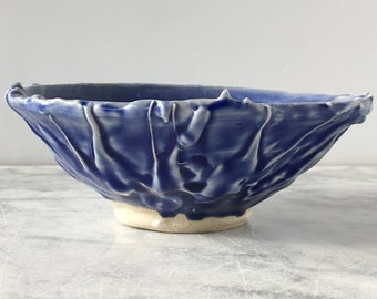 Ceramic Bowl Vessel with Blue Glaze Drips texture, Tableware Soup Dish
