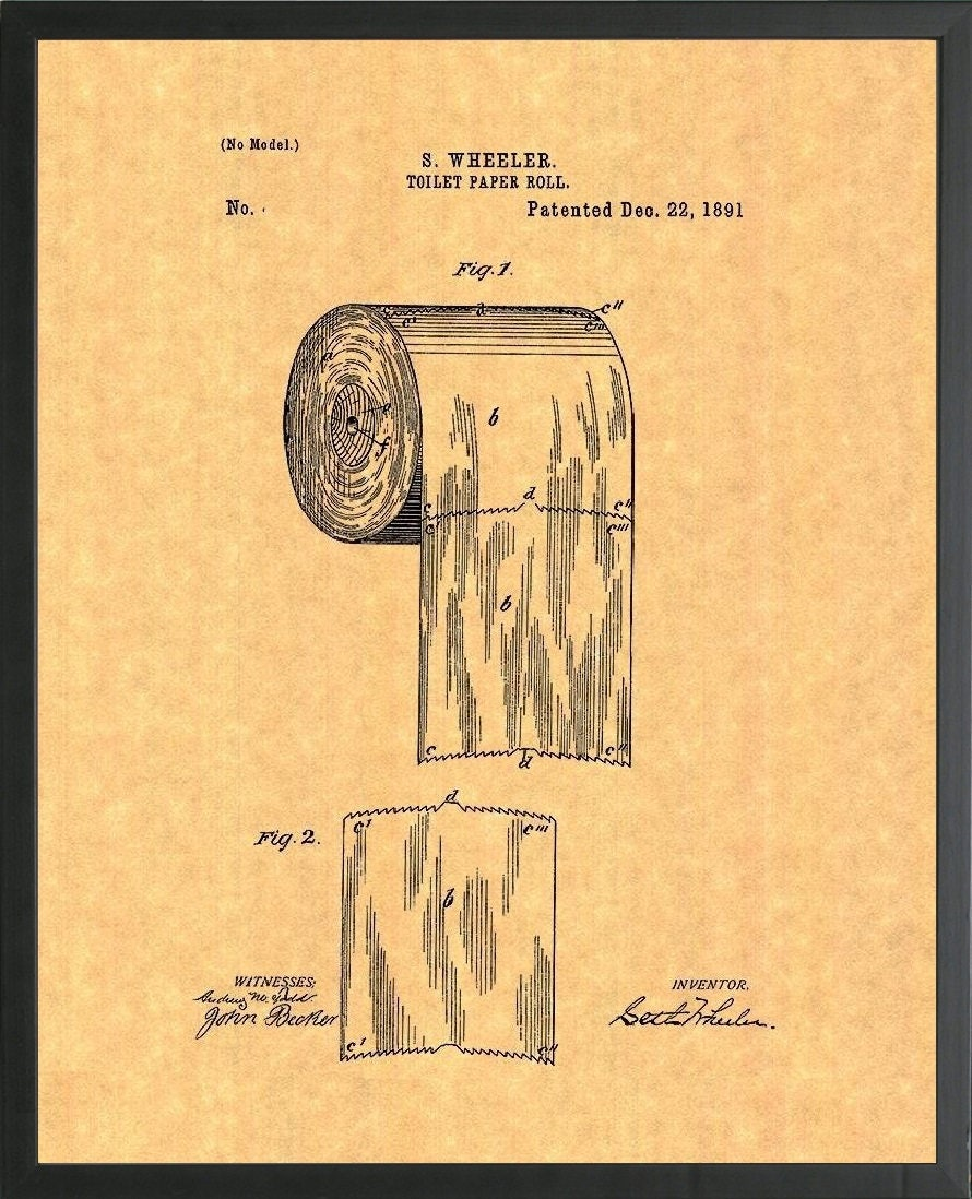 Framed Toilet Paper Roll Patent Print - Multiple Sized Frames and ...