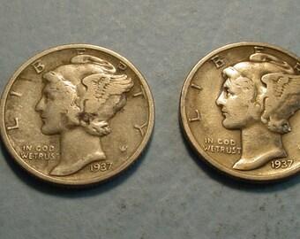 Mercury Dimes X's 2 1937 and 1937-D F/VF <> #ET8873