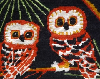 Vintage Needlepoint Owl Panel, Finished Needlepoint Owls Project Ready, Vintage Hand stitched Owls Needlepoint Canvas, Cute owls needlepoint