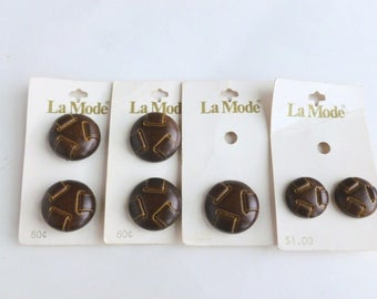 "La Mode Brown Faux Leather Plastic Shank Buttons Lot 3/4"" and 1"" Diameter Sizes 30 and 40 Unused on Cards NOS"