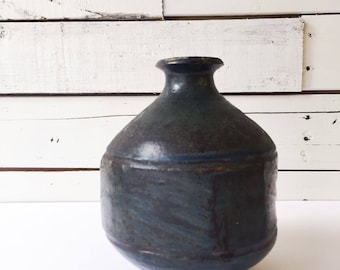 Large vintage ceramic bud vase | handmade pitcher