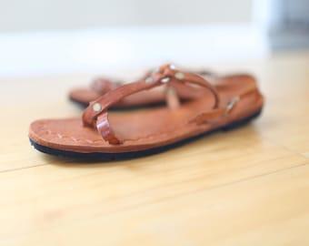 vintage brown leather hurache sandals womens 8 1/2