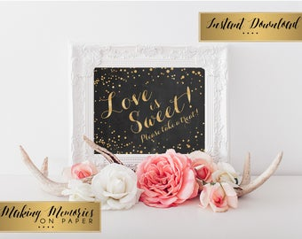 Love is Sweet Take a Treat, Instant Download, Glitter Chalk Wedding, sweet sign, printable chalkboard, wedding sign,  wedding decoration