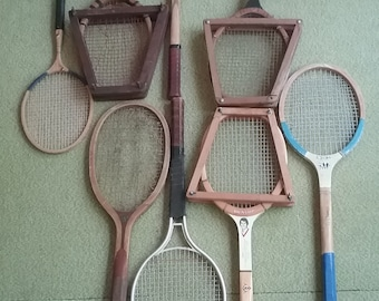 1 Lot of 9 Vintage Racquets--Mostly Tennis