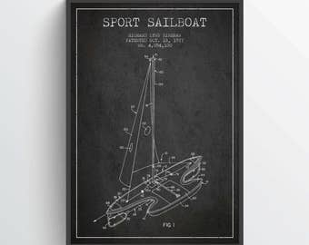 1977 Sport Sailboat Patent Poster, Sailboat Poster, Sailboat Print, Patent Art Print, Patent Print, Home Decor, Gift Idea, NA24P