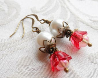 75% Off Clearance Sale, Tulip Blossom Earrings, Vintage Beads, Red, Pearl