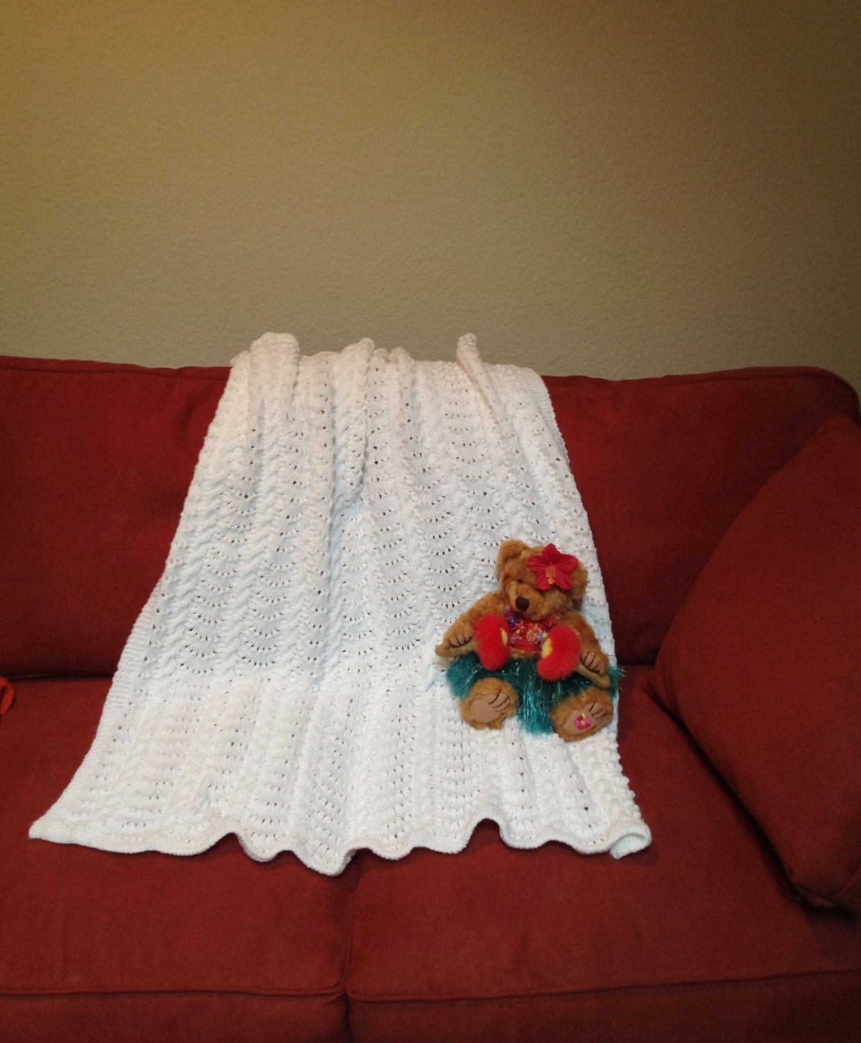 Hand Knitted Baby Blanket in the Cables and Crowns Patterns
