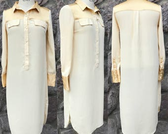 Vintage 70s Cream Colored Lightweight Mid-Length Shift Dress / Shirt Dress / Women's Size Medium