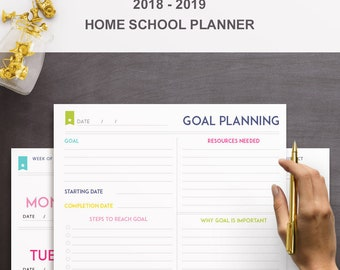 Deluxe Homeschool Planner - Lesson Planner Template - INSTANT DOWNLOAD - 10+ Organizational Printables -  2018-2019 - Classroom Organization
