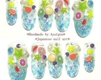 Long nails, deco nail, 3D nail, blue nail, fruit, glittery, stars, kawaii nail, cute nail, summer nail art, decoden, decora, Harajuku