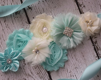 Aqua ivory sash,#2 ,flower Belt, maternity sash, wedding sash, flower girl sash, maternity sash belt