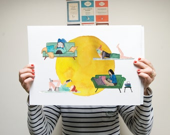 watercolour print - the book lovers