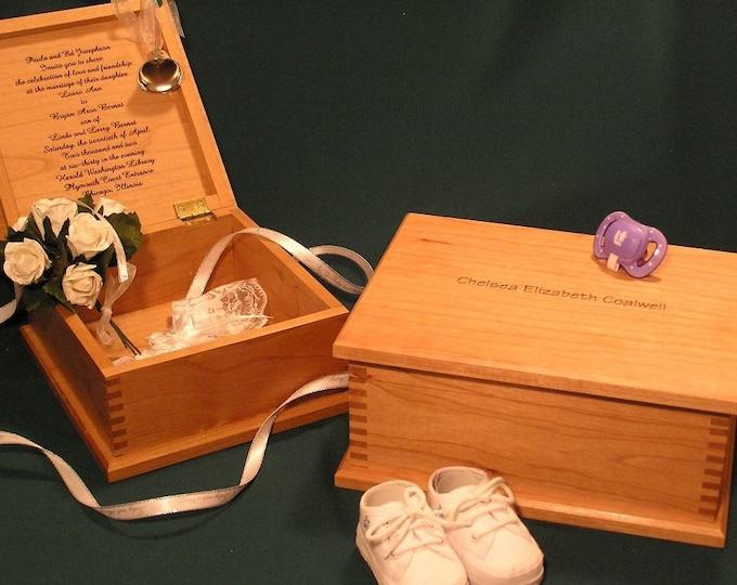 CUSTOM BABY and WEDDING and Other Special Occasion Keepsake Boxes, engraved with announcement, names and dates!