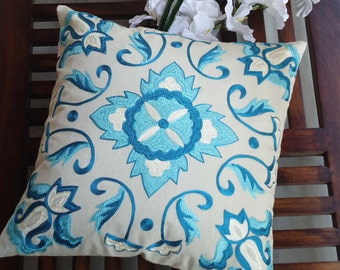 """Blue Embroidered Pillow,Suzani Pattern,Decorative Pillow,Pillow Cover,Throw pillow cover,Cushion cover,Standard Size 16"""" x 16"""""""