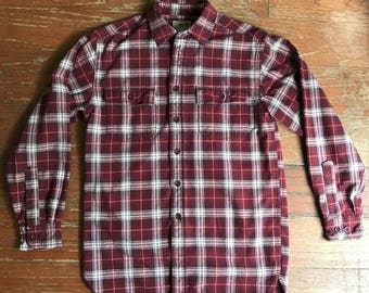 Vintage LL BEAN Royal Stewart Plaid Red Heavy Cotton Flannel Shirt Small S